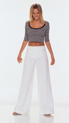 Burda 8488 Trousers/pants: sailor pants for swing dancing! Trouser Pants, Wide Leg Trousers, Wide Leg Jeans, Diy Fashion, Fashion Outfits, Sailor Pants, Pants Pattern, White Fabrics, Diy Clothes