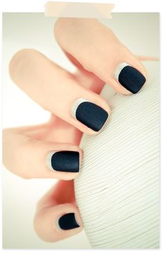 Modern reverse French manicure (nourrish me / essie manhattan / liquid metal)