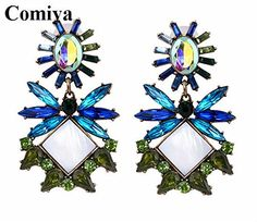 Chokushop New fashion blue green statement shourouk earrings for women pendientes crystal dangle turkey earring bohemian brand jewelry exo >>> More info @ http://www.amazon.com/gp/product/B01343LI1E/?tag=jewelry3638-20&plm=310716212342