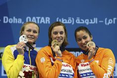 (L-R) Sarah Sjostrom of Sweden, Femke Heemskerk of the Netherland and Ranomi Kromowidjojo of the Netherlands