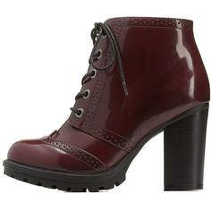 Charlotte Russe Burgundy Bamboo Wingtip Lace-Up Chunky Heel Booties by... found on Polyvore featuring shoes, boots, ankle booties, burgundy, chunky heel booties, chunky platform boots, platform combat boots, platform booties and lace up ankle boots