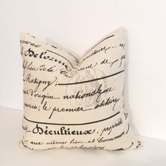 Natural French Script Accent Pillow Decorative by PillowAvenue, $18.00