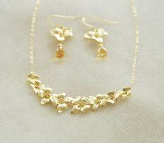 Gold Dogwood Jewelry Set- Dogwood Flower Necklace, Dogwood Earrings, Citrine Earrings, Gemstone Earrings, November Birthstone, Gift for her by YsmDesigns on Etsy