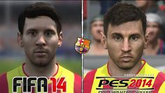 Here's what Barcelona star Lionel Messi looks like on both FIFA 14 and Pro Evo 2014 this year.
