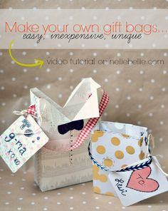 how to make a gift bag tutorial!! I love this! So easy, inexpensive, and creative!