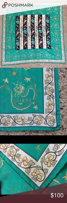 """Loewe Green Gold Square Dragon Asian Floral Scarf This is a square scarf by Loewe. It is a green background. On the border are golden dragons. On the inside are columns of floral designs. It has a hand rolled and stitched edge. It is approximately 34.5"""" x 34.5"""" Excellent condition No rips stains or tears Comes from a smoke free home. Loewe Accessories Scarves & Wraps"""