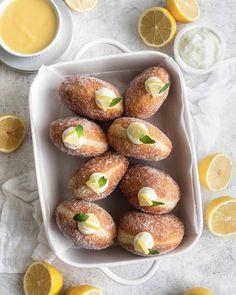 Lemon Cream Brioche Doughnuts | Nourished Endeavors Lemon Desserts, Just Desserts, Delicious Desserts, Yummy Food, Tasty, Brioche Doughnuts Recipe, Baked Donuts, Savory Donuts Recipe, Homemade Donuts