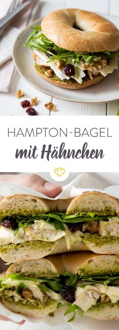 Hampton bagel with chicken - sandwich donut on the fist - Mittagspause Cold Sandwiches, Sandwiches For Lunch, Bagel Sandwich, Chicken Sandwich, Beignets, Brie, Bagel Cafe, Beste Burger, Easy Sandwich Recipes