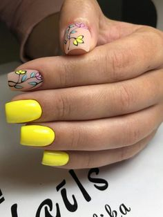 Bright yellow manicure with two accent matte nails and colorful leaves and flowers Nails Yellow, Yellow Nails Design, Minimalist Nails, Spring Nails, Summer Nails, Love Nails, My Nails, Nail Deco, Nagel Gel