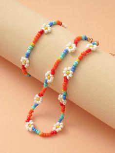 Handmade Wire Jewelry, Diy Crafts Jewelry, Bracelet Crafts, Cute Jewelry, Beaded Bracelets, Handmade Bracelets, Embroidery Bracelets, Flower Bracelet, Flower Necklace