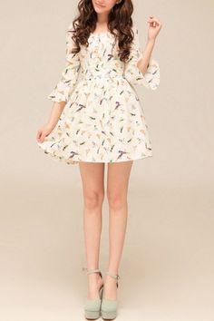 Short chiffon dress with fun bird prints