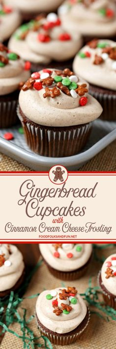 Gingerbread Cupcakes with Cinnamon Cream Cheese Frosting. #Christmas #desserts