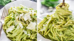 Creamy Avocado and Spinach Pasta - a creamy sauce made with avocados, spinach, basil and pecans. A super healthy and delicious pasta dish, eat without guilt. Vegetarian Recipes, Healthy Recipes, Spinach Pasta, Russian Recipes, Raw Vegan, Healthy Eating, Healthy Food, Food And Drink, Yummy Food