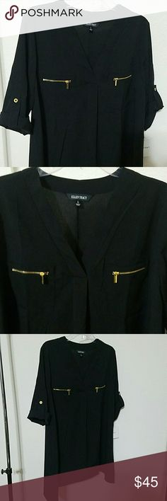 """Ellen Tracy Blouse Beautiful brand new with tag Ellen Tracy blouse. Roll up sleeves. Zipper pockets in front. Gold tone hardware. V neck. Black color. No stains or damages. 100% polyester. Approx L of blouse 29"""". Armpit to armpit approx without stretching 22"""". Ellen Tracy Tops"""