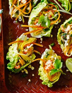 Asian crayfish lettuce cups Serves 4 generously // Prep 40 mins // Total time 40 mins Get ahead Make up to the end of step 2 a few hours ahead; chill the salad. Shellfish Recipes, Seafood Recipes, Cooking Recipes, Healthy Recipes, Crayfish Salad, Eat Nourish Glow, Deliciously Ella Recipes, Lower Carb Meals, Low Carb