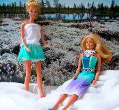 Puppenkleid zwei Teile & silberne Gurte, in Barbie-Grösse,handgenäht, eine…