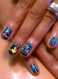 Pac Man may I suggest painting your nails. Every time you catch a glimpse of your nails with Ms. Pac Man's face you will be reminded to be strong. Pac Man can take on her gh Love Nails, How To Do Nails, Fun Nails, Pretty Nails, Style Nails, Crazy Nails, Pac Man Nails, Daily Nail, Manicure E Pedicure