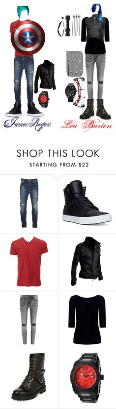 """""""Trick Shot and American Soldier"""" by ironkyle ❤ liked on Polyvore featuring Nudie Jeans Co., Supra, VILA, Theory, Valentino, Swiss Legend and Forever 21"""