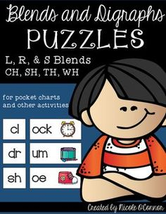 """115 blend and digraph """"puzzles"""" in all! Students match the onset blend or digraph to the rime and picture of a word. These are perfect in pocket charts as a literacy center, reading group activity, or as whole group practice!Simple, effective, and interactive!"""
