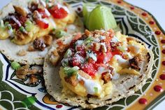 Mexican #breakfast #tacos with scrambled eggs