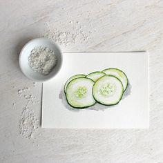Concombre aquarelle impression par Kathleen Maunder, trowelandpaintbrush.com