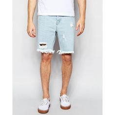 Afends Cut off Denim Shorts Stone Blue ($57) ❤ liked on Polyvore featuring men's fashion, men's clothing, men's shorts, blue, mens cut off shorts, mens cut off denim shorts, mens slim fit shorts, mens denim shorts and tall mens clothing