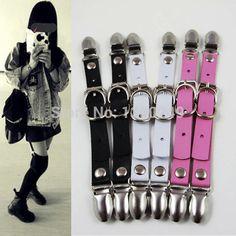 2016 Sexy moda Harajuku 100% hechos a mano del Punk Rock Clip pierna liguero para
