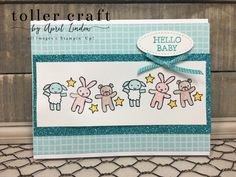 I used the Moon Baby stamp set for this card on the shimmery white card stock. I had fun coloring in the stuffed animals. Fancy Fold Cards, Folded Cards, Baby Scrapbook, Scrapbook Cards, Scrapbooking, Greeting Card Holder, Baby Stuffed Animals, Baby Friends, Baby Bundles