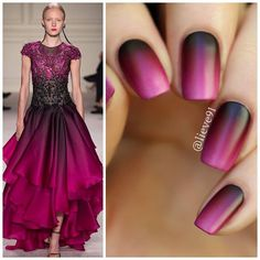 Ombre Burgundy Nails Inspired By Marchesa Fashion Spring 2016 collection