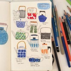 My obsession on Scandinavian tablewares is still on fire....they are just too beautiful #doodle #sketchbook #moleskine #colorpencil #teapot #stiglindberg #drawing #creativewriting #makeartthatsells by hee_cookingdiary
