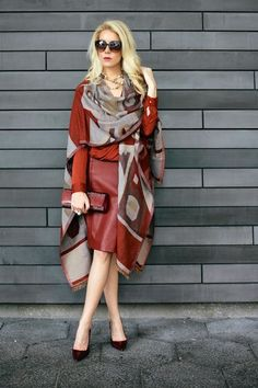 Scarves, scarves, and more scarves. This beautiful Fall/Winter look is centered THE scarf. This spring you'll look for large floral wrap arounds especially in the Hawaiian motif! Ez, breezy, and flowy is the goal. Red hotPhoto credit: The Supper Model via @stylelist