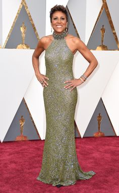 Oscars 2016: Robin Roberts attends the awards ceremony in a Badgley Mischka designed gown.