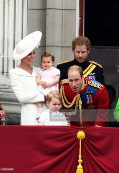 Catherine, Duchess of Cambridge, Princess Charlotte of Cambridge, Prince George, Prince William, Duke of Cambridge and Prince Harry appear on the balcony of Buckingham Palace following the Trooping the Colour ceremony to mark the Queen's official 90th Birthday on June 11, 2016 in London, England.