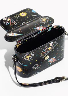 & Other Stories image 2 of Galaxy Print Leather Box Bag  in Galaxy Print