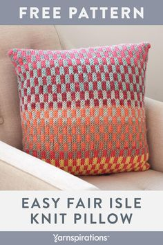 Yarnspirations is the spot to find countless free easy knit patterns, including the Bernat Fantastic Fair Isle Knit Pillow. Fair Isle Knitting Patterns, Knitting Blogs, Knitting Charts, Sock Knitting, Knitting Tutorials, Vintage Knitting, Free Knitting, Knitting Machine, Motif Fair Isle