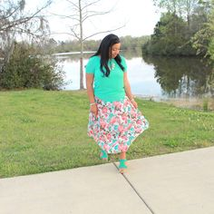 teal blouse with mint and coral floral print chiffon arrow maxi skirt, modest outfit idea