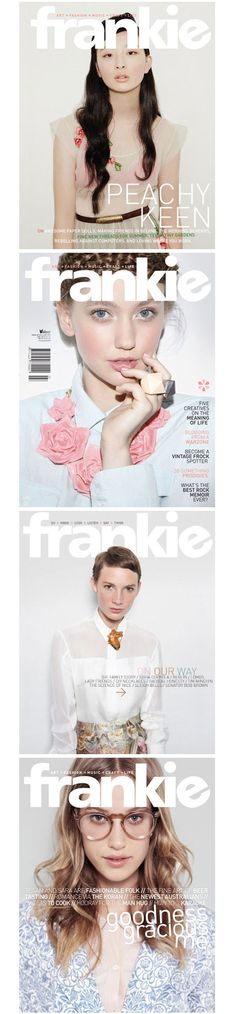 Frankie magazine covers. We won't be having people as cover subjects but we can get some inspiration from the color scheme, word placement, and whatnot.