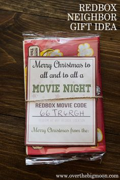 Redbox Neighbor Gift Idea - I had no idea that you could buy Redbox codes! Such a cool idea!