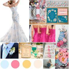 Light Blue, Pink, Marigold, Ivory #wedding #blue #pink
