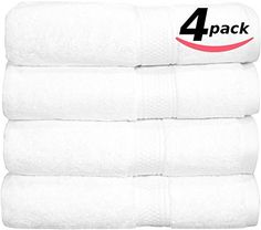 """Premium Hotel & Spa Bath-Towels White - 4 Pack 100% Cotton Bath Towels, 27"""" X 54"""" Easy Care, 700 GSM Ringspun Cotton for Maximum Softness and Absorbency by Utopia Towels"""