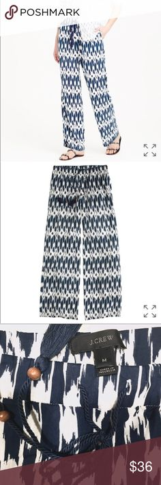 """J. Crew Cabana Pant in Ikat J. Crew Cabana Beach Pant in ikat, size medium. These awesome drapey rayon/viscose, pull-on pants are hand printed by artisans in India. Elastic waistband with tassel drawstring, """"it looks just as good running errands as it does sipping piña coladas poolside"""". Worn once, excellent condition, no flaws or stains. Inseam 32in. J. Crew Pants"""