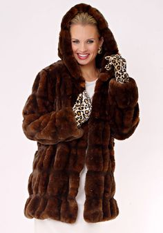 Mahogany Mink Couture Hooded Faux Fur Jacket