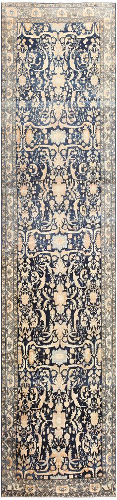 Antique Blue Persian Malayer Runner Rug 48582