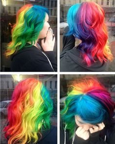 We've gathered our favorite ideas for Rainbow Hair Color Strayhair, Explore our list of popular images of Rainbow Hair Color Strayhair in rainbow color hair dye. Love Hair, Gorgeous Hair, Pelo Multicolor, Bright Hair, Colorful Hair, Rainbow Hair Colors, Rainbow Theme, Rainbow Wedding, Hair Colours