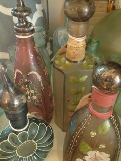 Hand Painted Bottles/Decanters | $26-$42