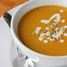 All the creaminess without a drop of dairy, this flavorful pumpkin-coconut bisque is only 202 per serving.  Source: Lizzie Fuhr