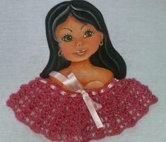 como fazer boneca com blusa de croche pintura em tecido How to paint a d...