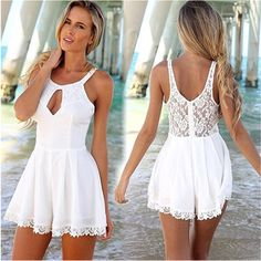 New Fashion Women Summer Style Sexy Lace Jumpsuits Sleeveless Hollow Out Backless O-neck Beach Playsuits Rompers White Lace Playsuit, Lace Tunic, White Dress, Sexy Women, Cute Dresses, Summer Dresses, Women's Dresses, Summer Outfits, Fashion Dresses