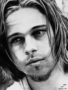 Drawing of Brad Pitt - long hair