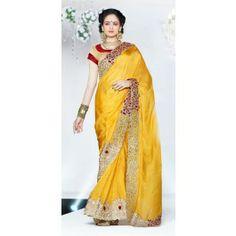 Gold Silk Party Wear Saree